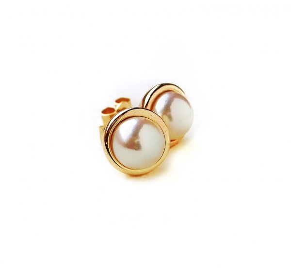 pearl, earrings, gold