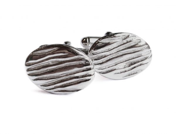 Solid silver cufflinks with a wavy pattern