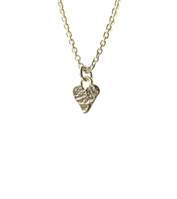 Petite handmade textured heart pendant