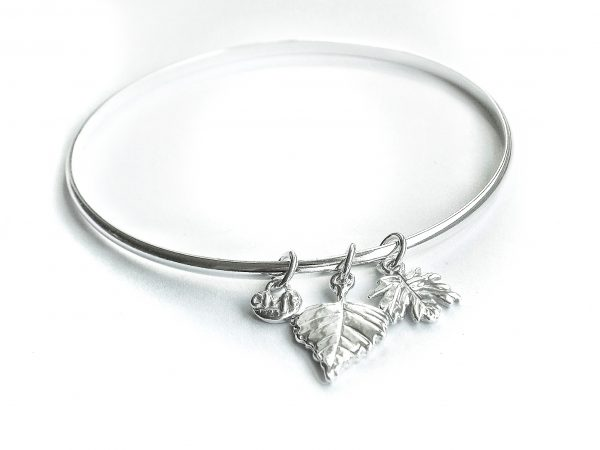 Silver bangle with two leaves