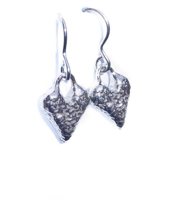 Chunky sterling silver heart shaped earrings