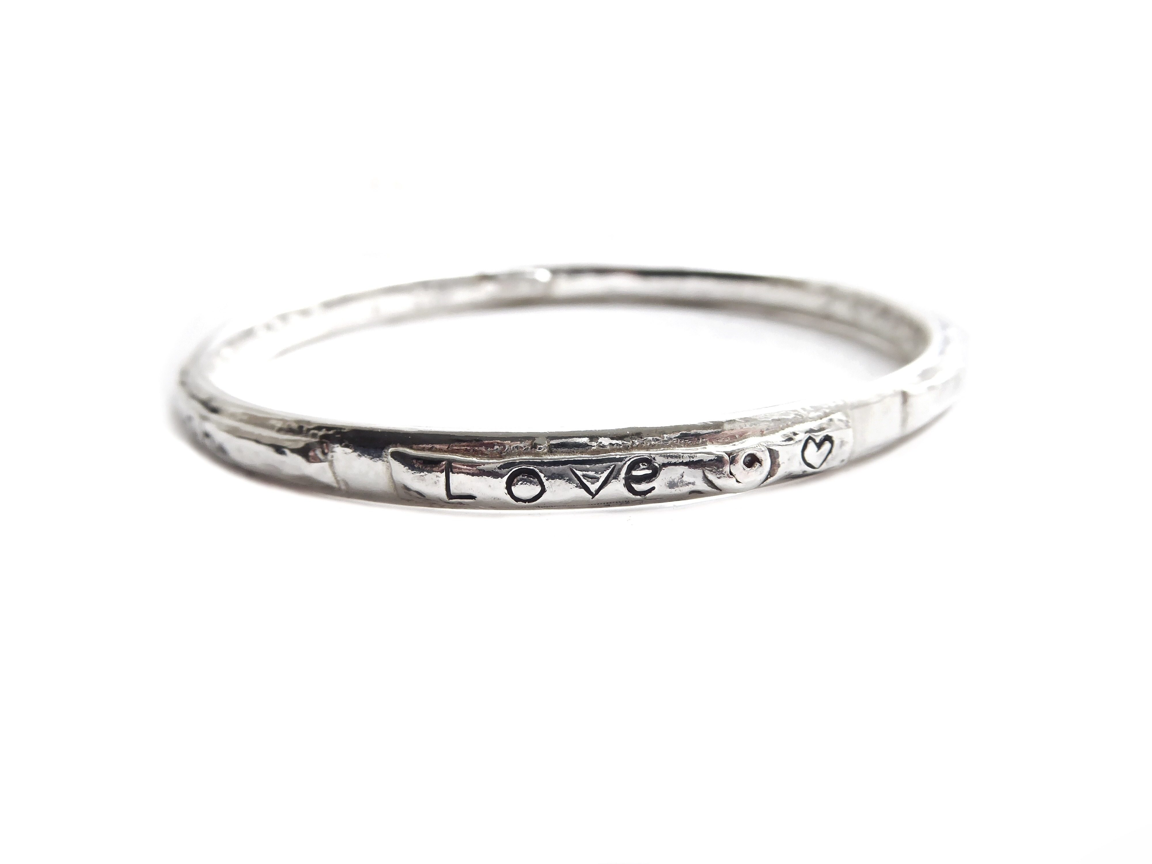 Handmade Sterling Silver Love Bangle