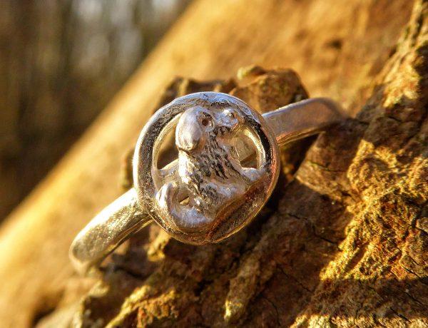 Handmade silver dog ring