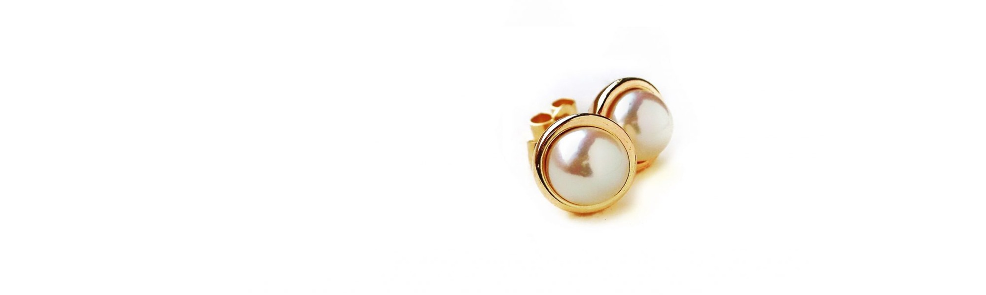 earrings, pearl, gold