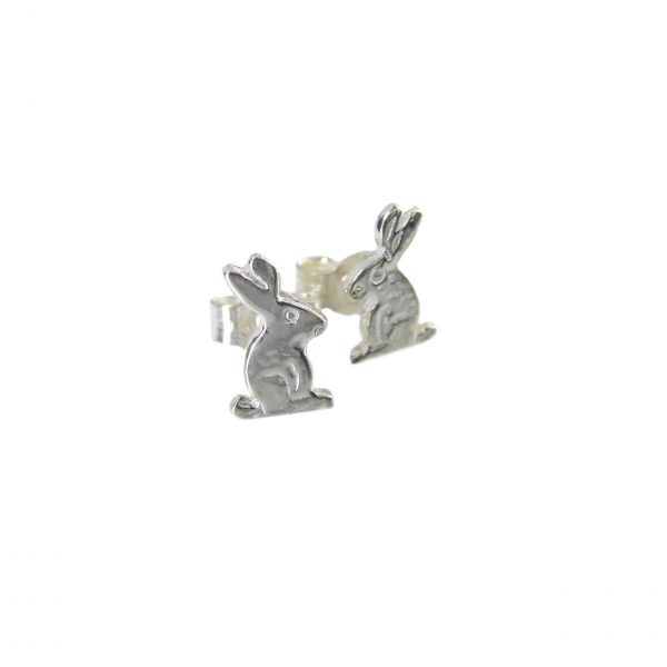 Silver bunny stud earrings