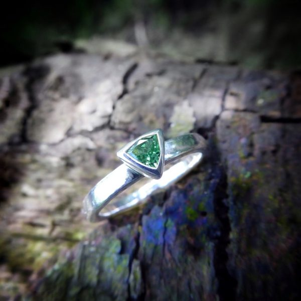 Tsavorite triangular silver ring
