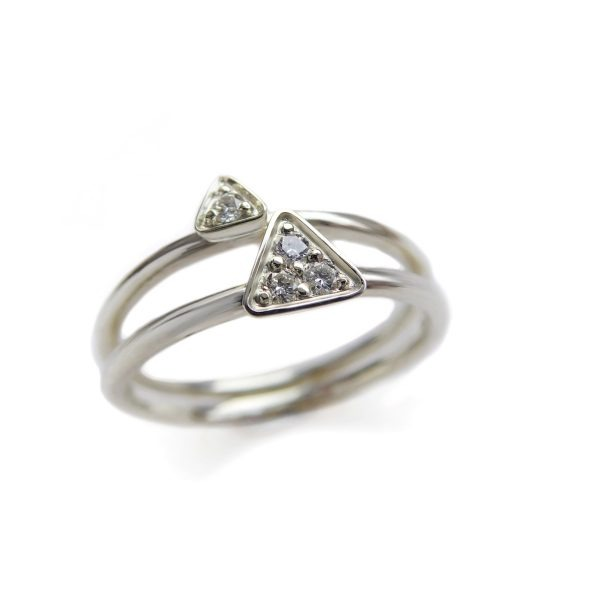 white gold triangular rings set with diamonds