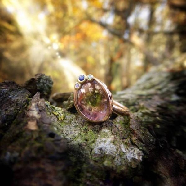 Mystical gold ring with watermelon tourmaline