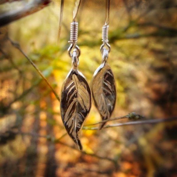 Ash leaf earrings handmade in silver